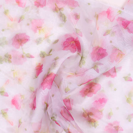 White Pink and Green Digital Organza Silk Fabric-51729