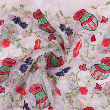 White Pink and Green Embroidery Organza Silk Fabric-51622
