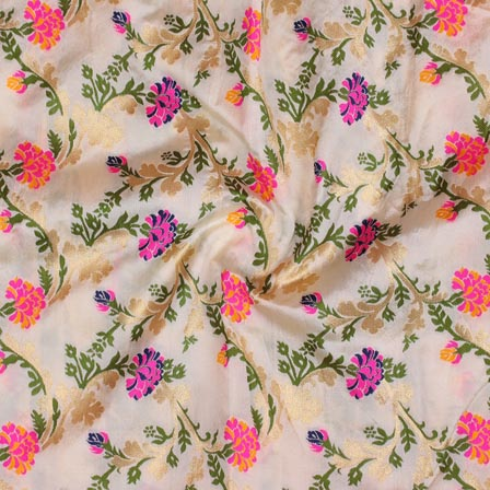 White Pink and Green Floral Digital Banarasi Silk Fabric-9213