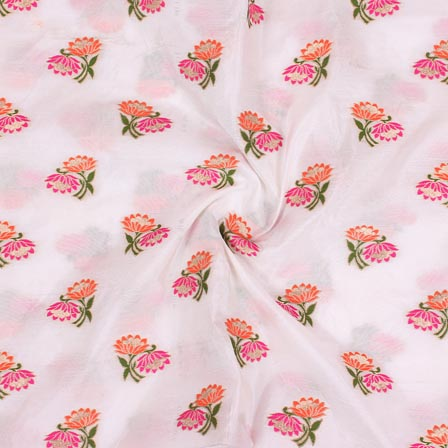 White Pink and Green Floral Digital Banarasi Silk Fabric-9215