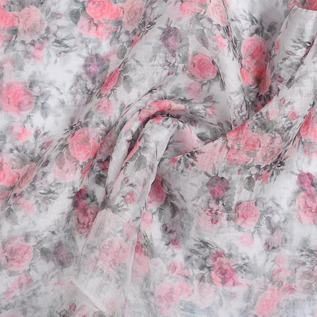 White-Pink and Green Floral Organza Digital Print Fabric-51345