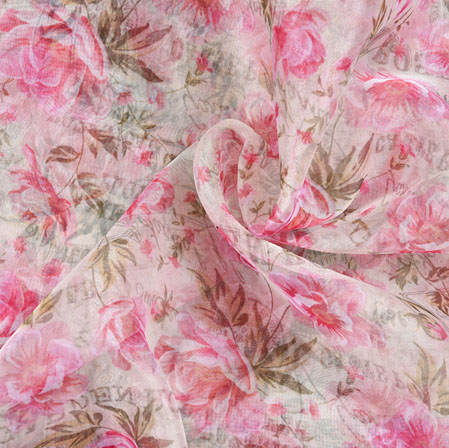 White Pink and Green Floral Organza Digital Silk Fabric-22400