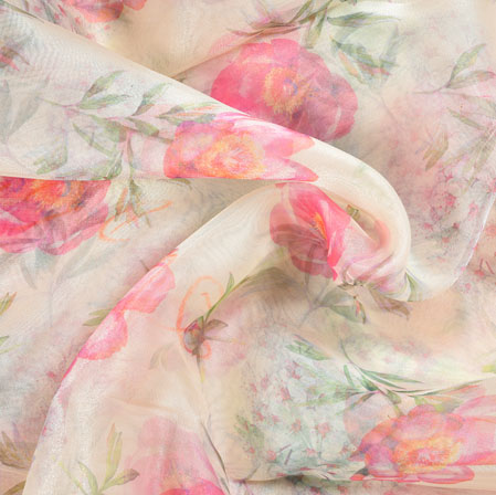 White Pink and Green Floral Organza Digital Silk Fabric-22408