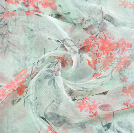 White Pink and Green Floral Organza Digital Silk Fabric-22410