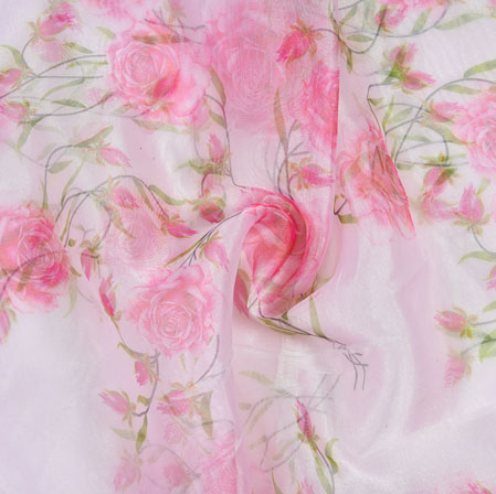 White Pink and Green Floral Organza Silk Fabric-22092