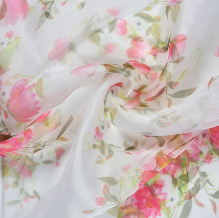 White Pink and Green Floral Organza Silk Fabric-22102