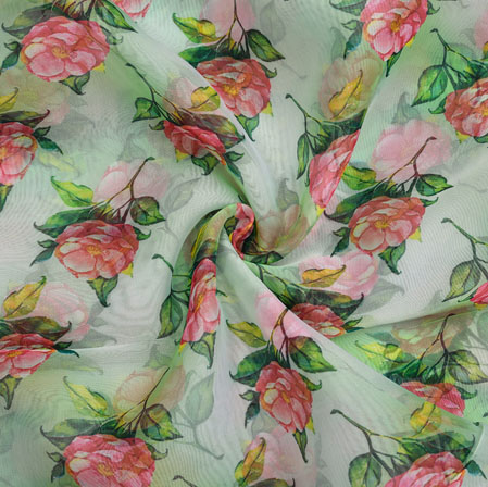 White Pink and Green Floral Organza Silk Fabric-22327