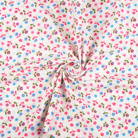 White-Pink and Green Flower Design Block Print Fabric-14424