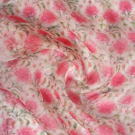 White-Pink and Green Flower Digital Organza Fabric-51142