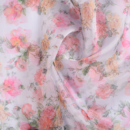 White-Pink and Green Flower Organza Digital Print Fabric-51340