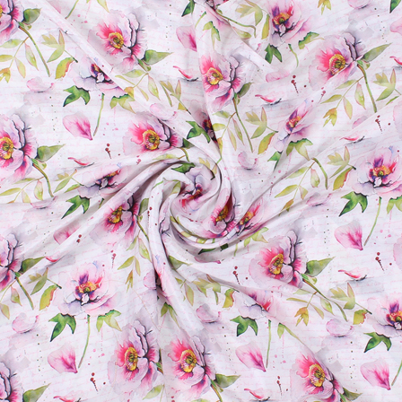 White-Pink and Green Flower Silk Crepe Fabric-18124