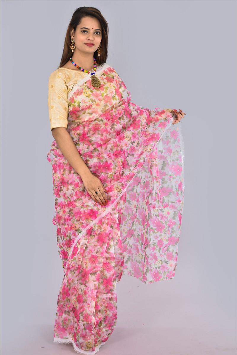 White Pink and Green Organza Digital Printed Saree-36192