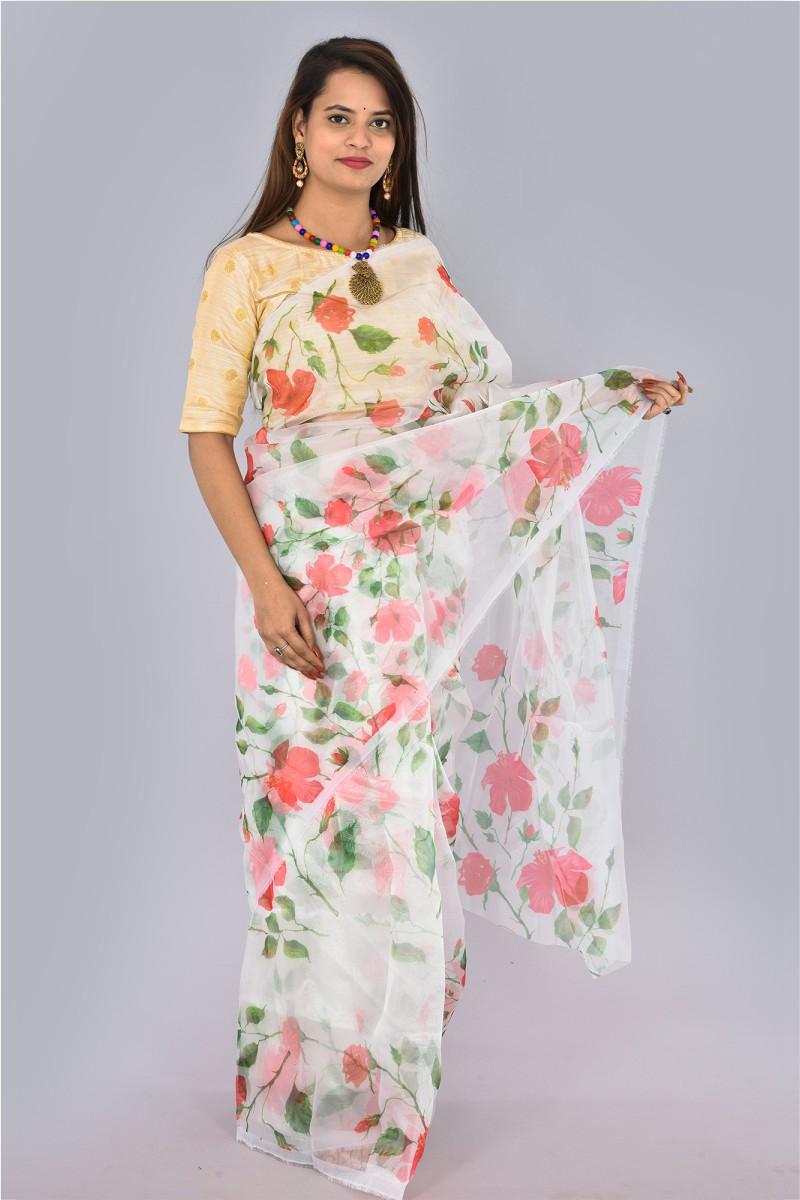 White Pink and Green Organza Digital Printed Saree-36193