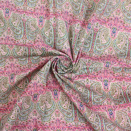 White-Pink and Green Paisley Block Print Fabric-14445
