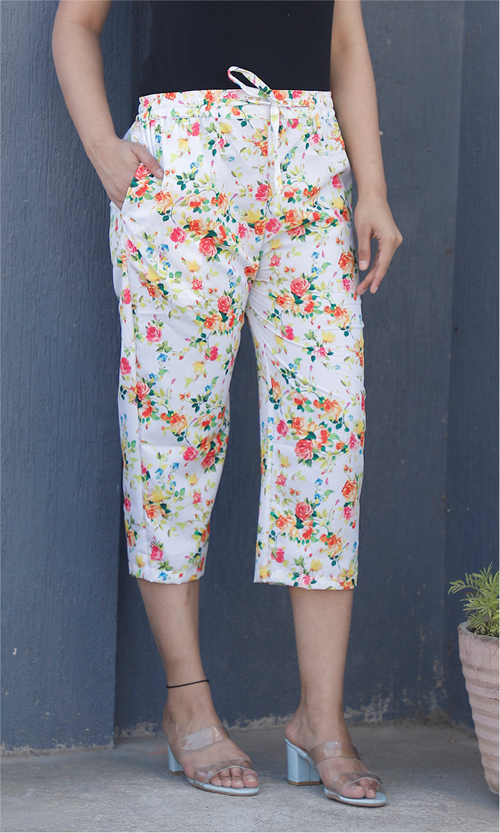 White Pink and Orange Crepe Silk Women culottes-34446