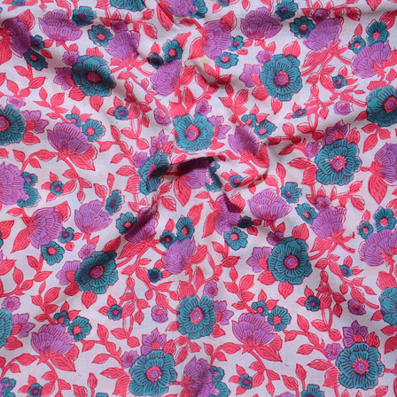 White Pink and Purpule Block Print Cotton Fabric-14637
