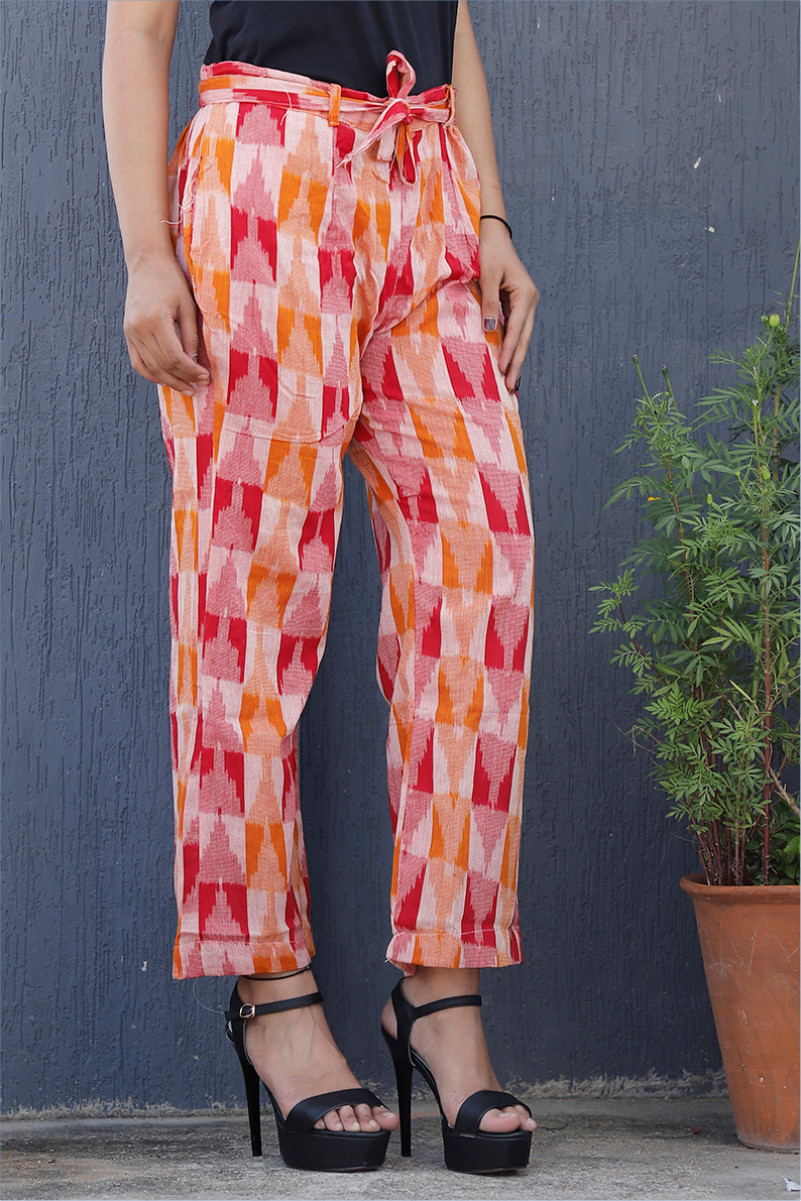 White Pink and Red Cotton Ikat zig zag Narrow Pant-34037