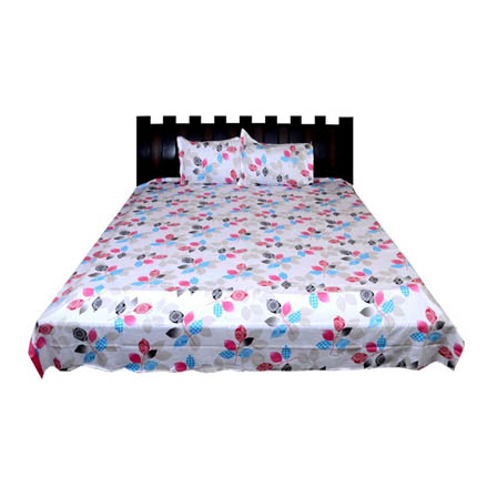 White-Pink and Sky Blue Rajasthani Cotton Double Bed Sheet-0D17