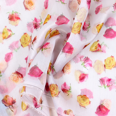 White-Pink and Yellow Flower Organza Digital Print Fabric-51398