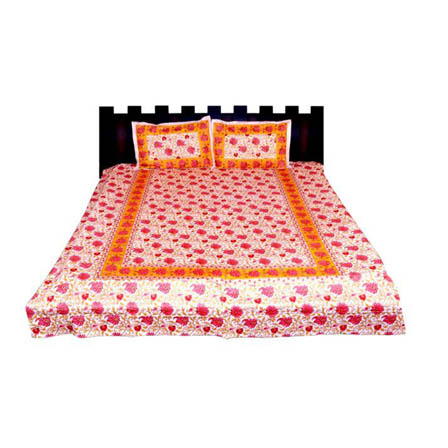 White-Pink and Yellow  Print Cotton Double Bed Sheet -0KLM01