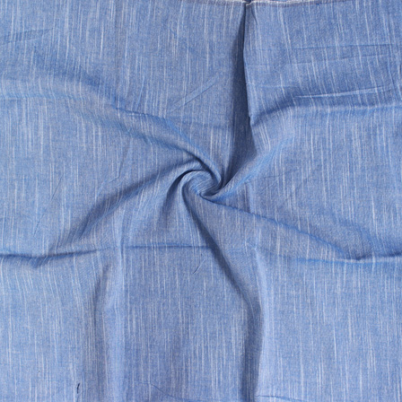 White Plain Slub Samray On Blue Handloom Khadi Fabric-40017