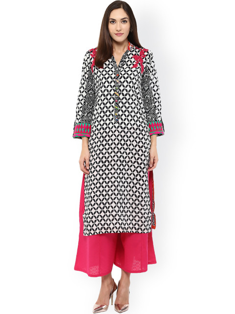 White Printed Straight Kurta-22120
