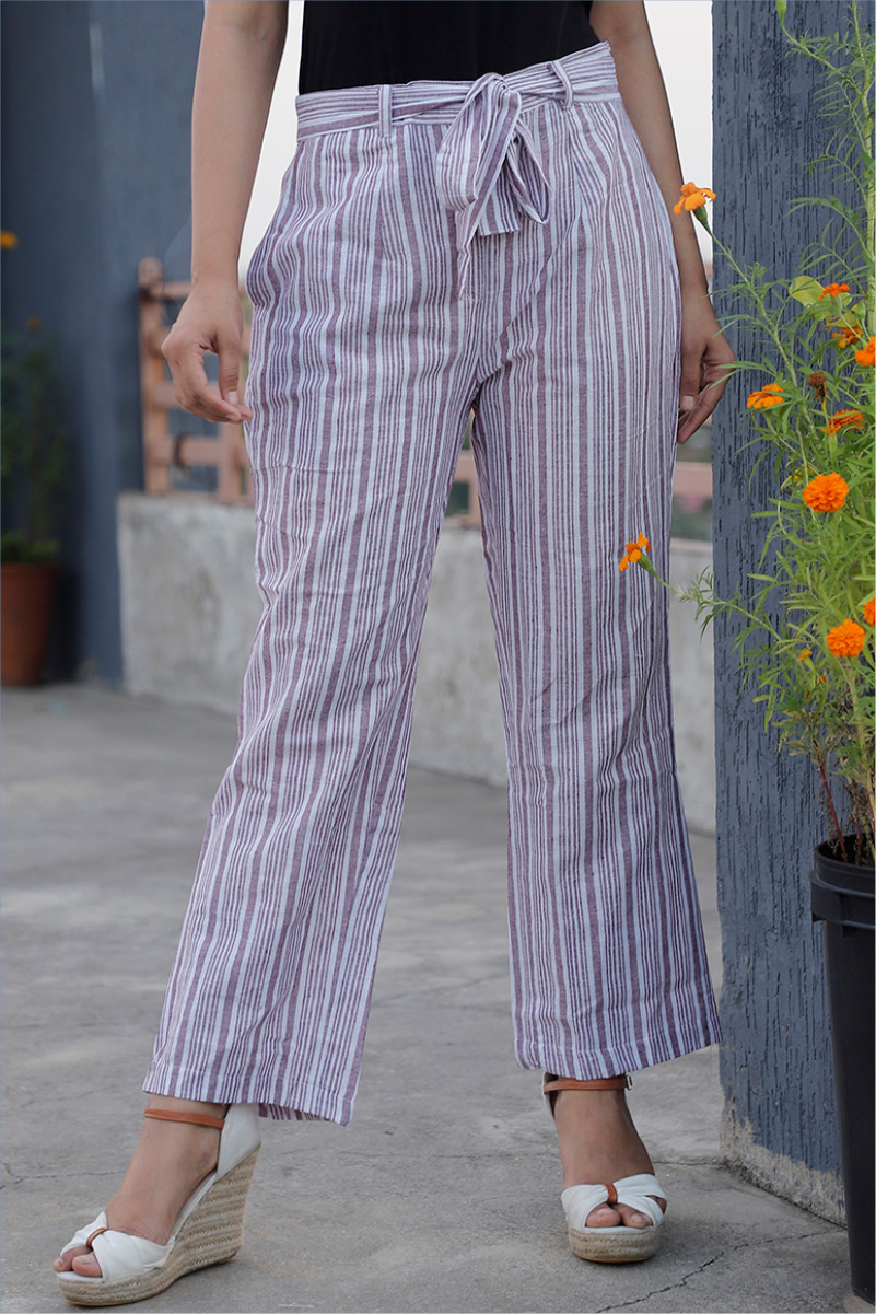 White Purple Cotton Stripe Pant with Belt-34062