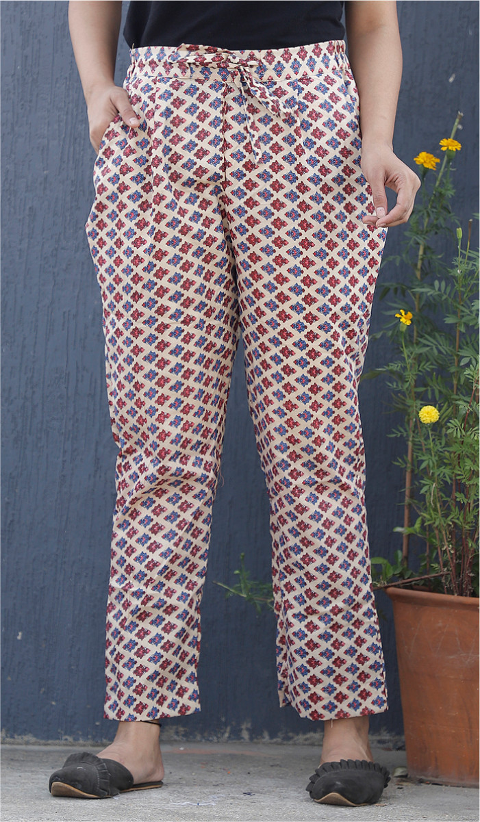 White Purple and Red Floral Block Print Cotton Pant-34104