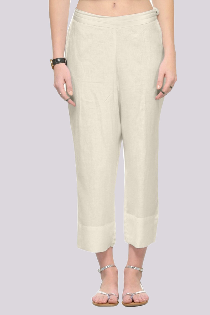 White Rayon Ankle Length Pant-33671