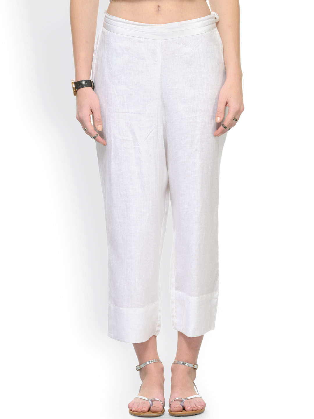 White Rayon Ankle Length Pant-33680