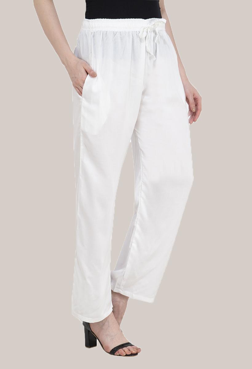 White Rayon Pant-33482