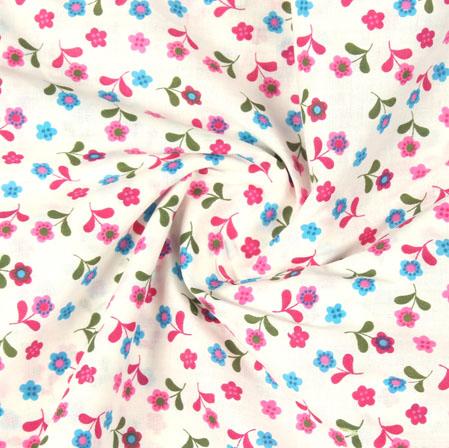 White Red Block Print Cotton Fabric-16065