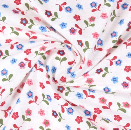White Red Block Print Cotton Fabric-16098