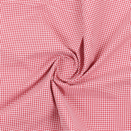 White Red Check Handloom Khadi Cotton Fabric-40461