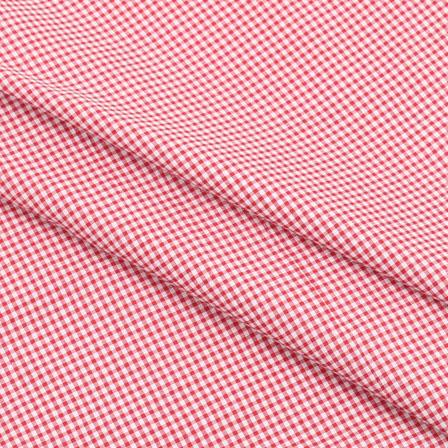 Khadi Shirt (2.25 Meter) Fabric-White Red Check Handloom-140461