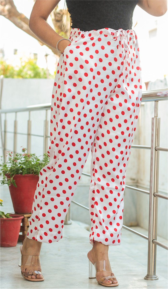 White Red Crepe Polka Women Pant-34703