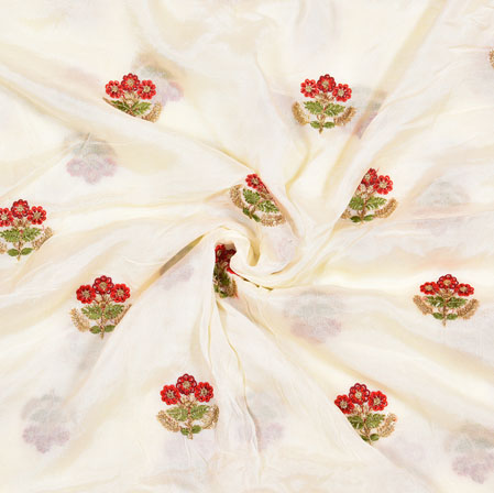 White Red Floral Chinnon Embroidery Silk Fabric-19037