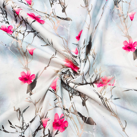 White Red Floral Crepe Silk Fabric-41010