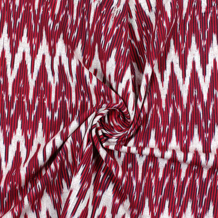 White Red Ikat Cotton Fabric-12186