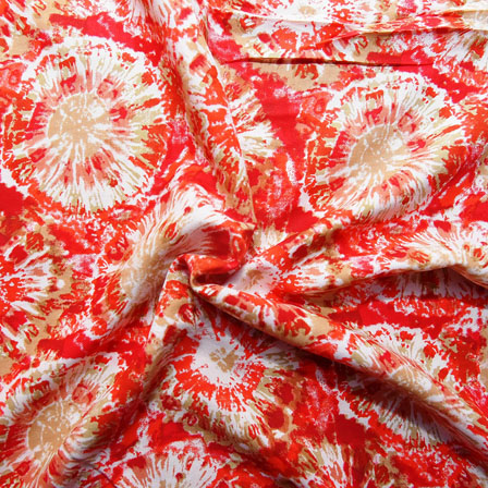 White-Red and Beige Unique Design Rayon Fabric-15035