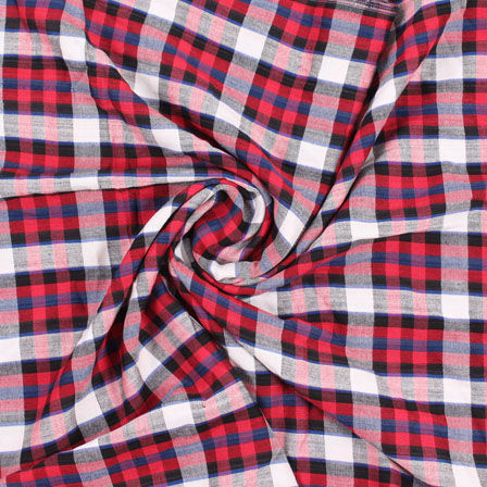 White Red and Black Check Handloom Cotton Fabric-40434