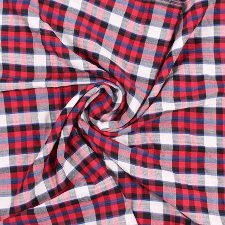 White Red and Black Check Handloom Khadi Cotton Fabric-40434
