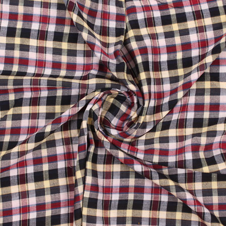 White Red and Black Check Handloom Cotton Fabric-40457