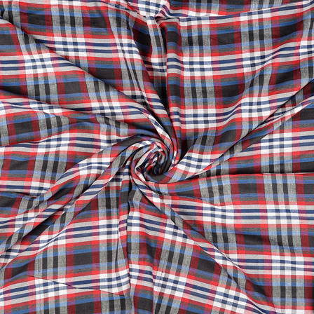 White-Red and Black Checks Rayon Shirt Fabric-40235