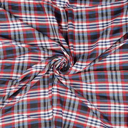 White-Red and Black Checks Rayon Shirt Fabric-40235