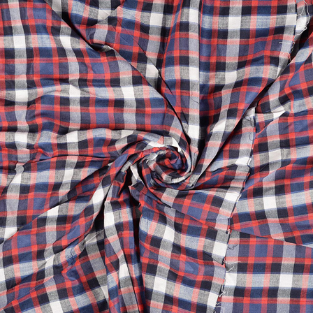 White-Red and Black Checks Rayon Shirt Fabric-40254