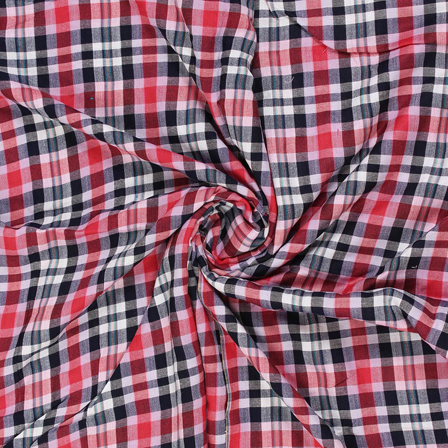 White-Red and Black Checks Rayon Shirt Fabric-40263
