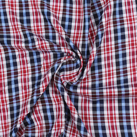 White Red and Blue Check Handloom Khadi Cotton Fabric-40465