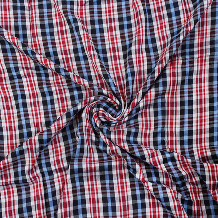 White-Red and Blue Checks Rayon Shirt Fabric-40265