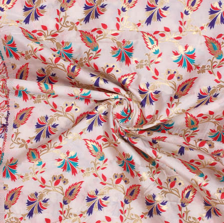 White Red and Blue Floral Banarasi Silk Fabric-9386